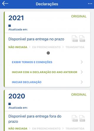 declaração-imposto de renda tela do aplicativo da Receita Federal