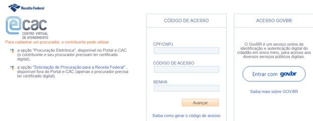 declaracao-imposto-de-renda tela inicial e-CAC